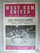 1966 WEST HAM UNITED v WEST BROMWICH ALBION, 3rd Dec (League Division One)