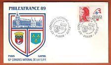 1989 - FDC 1°JOUR - PHILEXFRANCE 89 - 62e CONGRES F.S.P.T-PARIS - TIMBRE Yt.2461