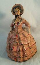Antique Southern Belle Lady Pink Hoop Dress Victorian Cast Iron Heavy Doorstop