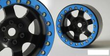 "SSD 2.2"" Rock Racer Beadlock Wheels BLACK w/ BLUE ring SSD00098 Bomber Wraith"