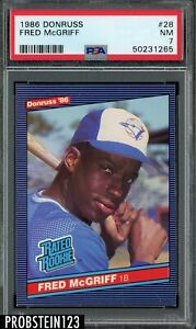 1986 Donruss Rated Rookie #28 Fred McGriff RC PSA 7 NM