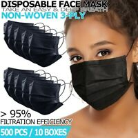 [Black] 500 PCS 3-Ply Disposable Face Mask Non Medical Earloop Dust Cover Masks
