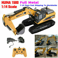 HuiNa 1580 1:14 23CH Full Metal Excavator 3in 1 Remote Control Engineering Car#a