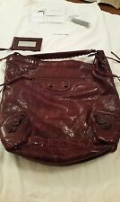 Auth Balenciaga 2006 Chèvre Day Bag Wine Color Wrinkled Leather Brassy Hardware