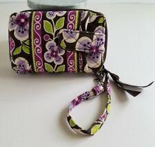 Vera Bradley Wristlet Wallet Zip ID Purple Black Green Floral