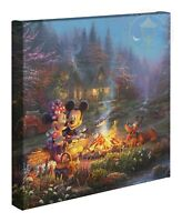 Thomas Kinkade Studios Mickey and Minnie Sweetheart Campfire 14 x 14 Wrap
