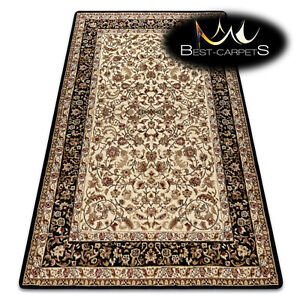 """TRADITIONAL Thick & Soft Classic RUGS """"ROYAL"""" Frame Ornament black / cream"""