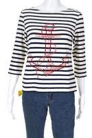 Saint James Womens Boat Neck Rhinestone Anchor Striped Shirt White Blue Size 6
