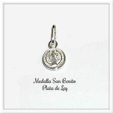COLGANTE MEDALLA SAN BENITO PLATA DE LEY  con CRUZ DE SAN BENITO 8mm + Estuche