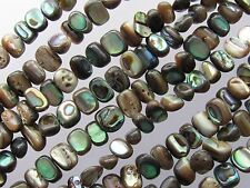"ABALONE BEADS 6x4mm nugget SHELL 76 pc Iridescent Multicolor 16"" Strand freeform"
