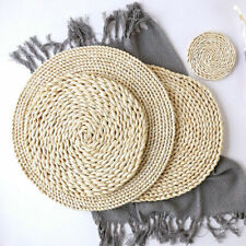 Straw Woven Tableware Placemats Place Mat Coasters Insulation Kitchen Dining Pad