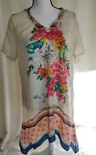 Romantic sexy Johnny Was Floral Silk Tunic Blouse Top Sz M