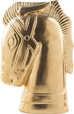 """Horse Head Ceramic Bust Chess Knight Statue 13.5"""" H Gold"""