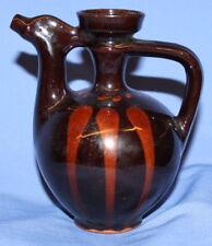 Vintage Handcradfted Folk Glazed Redware Pottery Pitcher