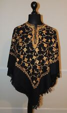 Kashmir Poncho Black with Gold all-over - New - India - Ethnic (item xp19)