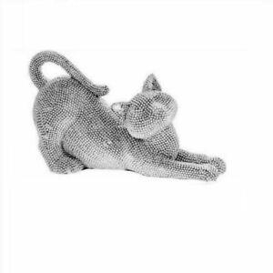 Leonardo Silver Art Stretching Cat Pet Ornament Sparkling Diamante Home Decor