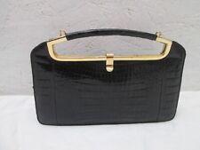 Jolisac à main en croco véritable noir vintage bag