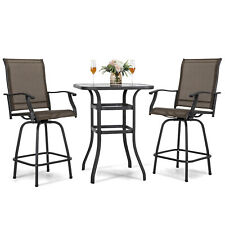 Nuu Garden 3 Piece Bar Height Metal Patio Bar Set Outdoor Steel Frame Bistro Set