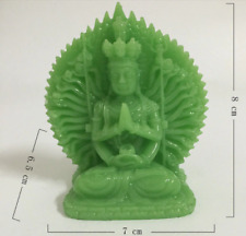 Glow in the Dark Buddha 1000 hands Guan Yin Stone Jade Green Carving Statue God