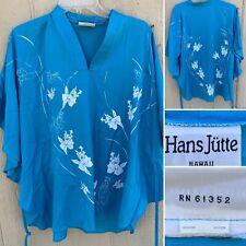 Vintage Hans Jutte Caftan Blouse Top Kaftan Floral Hawaiian Hawaii One Size
