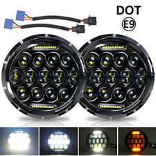 2pcs 7inch LED Headlights Hi/Lo /w Amber Turn DRL For Land Rover Defender 90 110