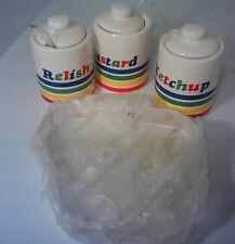 Vintage Ceramic Colorful Stripe Condiment Set Ketchup Mustard Relish Picnic BBQ