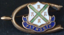 More details for good luck plymouth rare vintage crest type badge brooch pin in gilt 39mm x 21mm