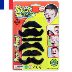 6 Fausses Moustaches Autocollantes Noires Déguisement Halloween Party