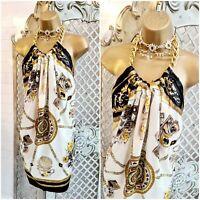 LOGO RARE UK S Stunning Satin Baroque Print Scarf Hanky Chain Mini Dress
