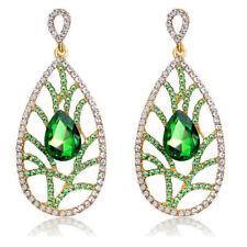 Vintage Green Gold Tear Pear Luxury Hollow Women Long Drop Stud Earrings E1307