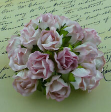 Mulberry Paper Flowers 5 x 2Tone BABY PINK - LARGE WILD ROSEBUDS for CRAFTS