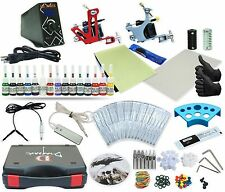 Tattoo Kit 2 Machine Gun Set Power Supply 15 Color Inks TKP-D2-2