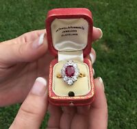 Estate Antique Art Deco French 18K Platinum 3.48 CTW Burma Ruby & Diamond Ring