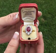 Estate Antique Art Deco French 18K Platinum 3.48 CTW Burma Ruby & Diamond Ring
