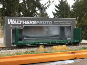 WALTHERS PROTO CC&F BULKHEAD FLATCAR HO ONR ONTARIO NORTHLAND CP CN ORIG BOX