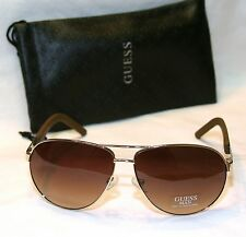 Genuine GUESS Man GU6801-GLD-34 Men's Aviator Sunglasses Brown Lens SILVER NEW!