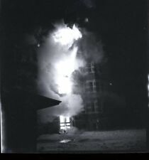 LARGE STRUCTURE FIRE AT NIGHT Vintage 1930's - 1940's NEGATIVE