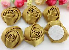 DIY 5/25/50PCS Satin Ribbon Rose Flower 40.00mm Craft/Wedding Appliques