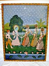 "Antique Indian Folk Art Pichwai Painting on Fabric Cloth 44"" Maidens Water India"