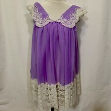 Vintage 60s Lavender~Lace Baby Doll Negligee~Italy~Biancheria Nailon Rhodiatoce