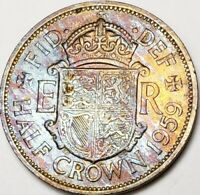 1959 GREAT BRITAIN HALF CROWN PROOF MULTI COLOR TONED BEAUTY IN HIGH GRADE