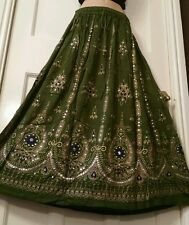 Ladies Indian Boho Hippie Long Gypsy Sequin Skirt Rayon Army GREEN Freesize