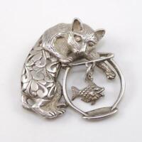 Vintage Sterling Silver Cat Kitten Fish Bowl Dangle Fish Antique Pin Brooch LFC3