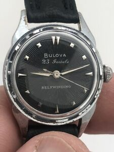 1954 BULOVA 23J AUTOMATIC ORIGINAL BLACK DIAL FANCY CASE STAINLESS BACK RUNS