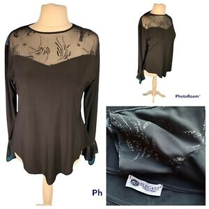Ladies Black Top Size XL (16/28) ELEGANT COLLECTIONS Long Bell Sleeve Party 🌹