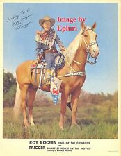 Roy Rogers and Trigger signed 8x10 rp color photo
