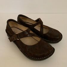 Alegria Jill Brown Paisley Mary Jane Shoes Work Women's Size EUR 39 / US 9
