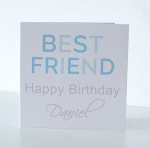 Personalised Best Friend Birthday Card for a Boy.  Male Best friend card.