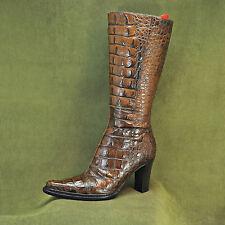 DONALD J. PLINER DJP Womens Brown Crocodile High Heel Boots Women's sz 6 M
