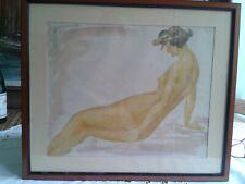 """"""" NU LANGOUREUX DE PROFIL  """" dessin aquarellé, signé, daté mars 1918"""
